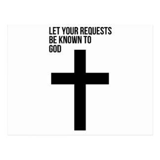Cartão Postal Oração: Deixe seus pedidos ser sabido ao deus
