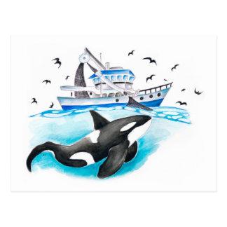 Cartão Postal Orca e o barco