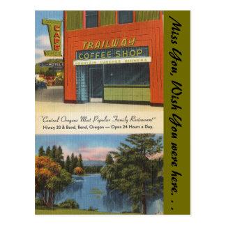 Cartão Postal Oregon, cafetaria de Trailway, curvatura
