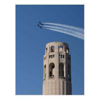 Cartão Postal Os anjos azuis voam pela torre de Coit