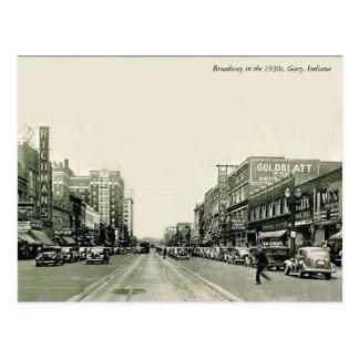 Cartão Postal Os anos 30 Gary de Broadway, Indiana