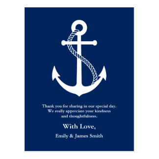 Cartão Postal Os azuis marinhos ancoram o obrigado náutico do