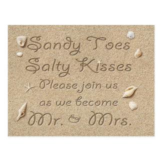 Cartão Postal Os beijos salgados dos dedos do pé de Sandy da