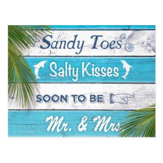 Cartão Postal Os beijos salgados dos dedos do pé de Sandy de
