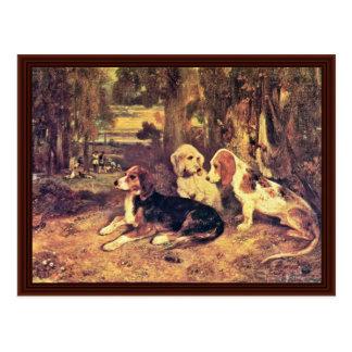 Cartão Postal Os cães por Alexandre-Gabriel Decamps