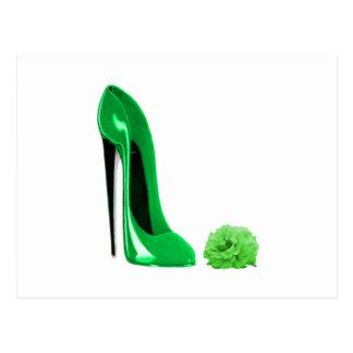 Cartão Postal Os calçados do estilete do verde esmeralda e