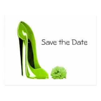 Cartão Postal Os calçados do estilete do verde limão e
