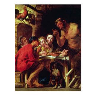 Cartão Postal Os camponeses e o Satyr