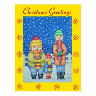 Cartão Postal os cantores engraçados da canção de natal no Natal
