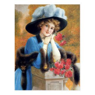 Cartão Postal Os cravos são para o amor em detalhe Émile Vernon