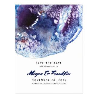 Cartão Postal Os cristais da aguarela do azul de índigo salvar a