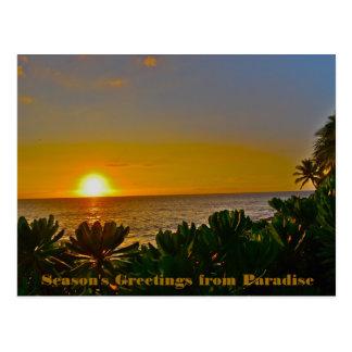 Cartão Postal Os cumprimentos da estação do paraíso na terra