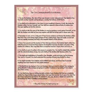 Cartão Postal Os dez mandamentos para mulheres