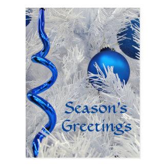Cartão Postal Os enfeites de natal azuis cutomize