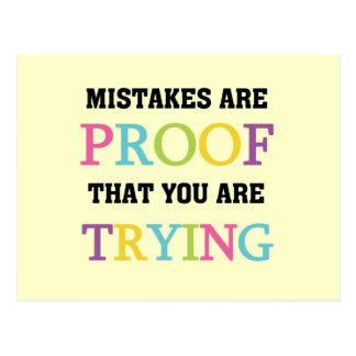 Cartão Postal Os erros são prova que você está tentando