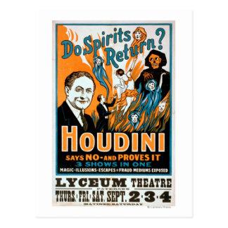 Cartão Postal Os espírito retornam? Houdini diz NÃO - prova-o