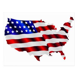Cartão Postal Os Estados Unidos da América e bandeira