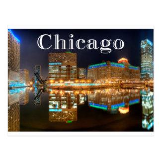 Cartão Postal Os Estados Unidos da skyline da noite de Chicago