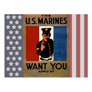 Cartão Postal Os fuzileiros navais querem-no