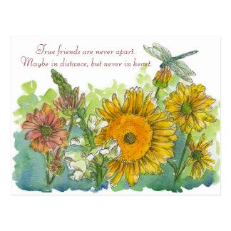 Cartão Postal Os girassóis Snapdragon florescem o poema da