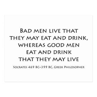 """Cartão Postal """"Os homens maus vivem que podem comer e beber… """""""