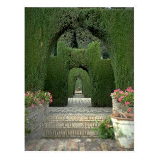 Cartão Postal Os jardins famosos do Alhambra, Granada, espanha