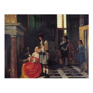 Cartão Postal Os jogadores de cartão, c.1663-65