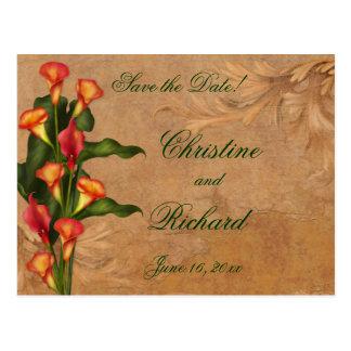 Cartão Postal Os lírios de Calla do por do sol salvar a data