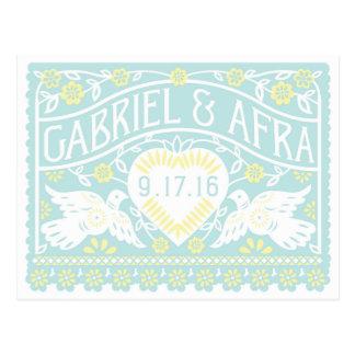Cartão Postal Os Lovebirds azuis e amarelos feitos sob encomenda