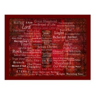 Cartão Postal Os nomes do Jesus Cristo da bíblia