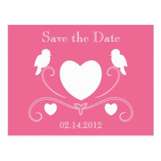Cartão Postal Os pássaros & os corações salvar a data