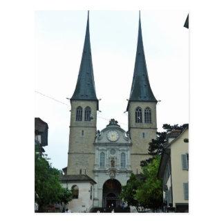 Cartão Postal Os pináculos gêmeos da igreja de Hof (Hofkirche)