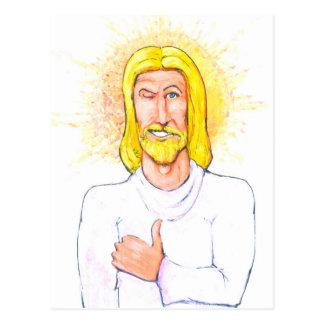 Cartão Postal Os polegares levantam Jesus