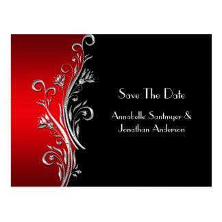 Cartão Postal Os redemoinhos de prata pretos vermelhos salvar a