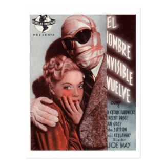 Cartão Postal Os retornos invisíveis do homem, vintage 1940 do