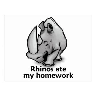 Cartão Postal Os Rhinos comeram meus trabalhos de casa