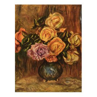 Cartão Postal Os rosas de Renoir na frente de uma Cortina azul