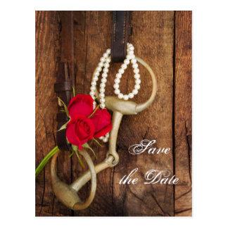 Cartão Postal Os rosas e o casamento do país do bocado do cavalo
