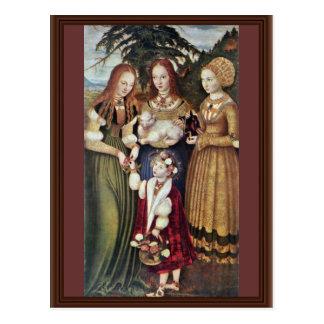 Cartão Postal Os santos Agnes e Dorothy Kunigunde por Cranach