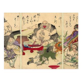 Cartão Postal Os sete deuses afortunados de Yoshitoshi (detalhe)
