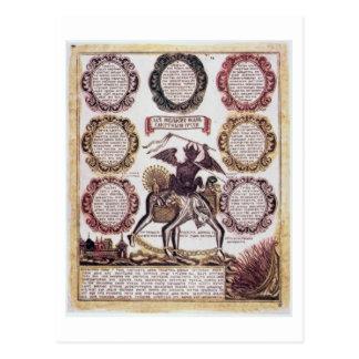 Cartão Postal Os sete pecados mortais (gravura)