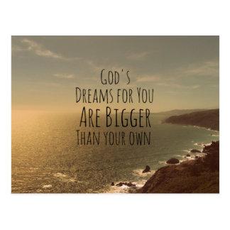 Cartão Postal Os sonhos do deus cristão inspirado das citações