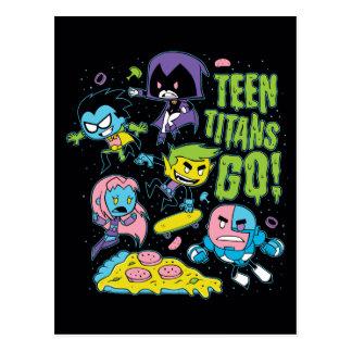 Cartão Postal Os titã adolescentes vão! gráfico Gnarly da pizza