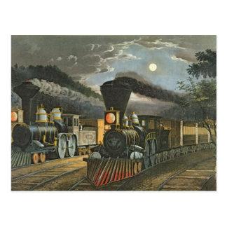 Cartão Postal Os trens expressos do relâmpago, 1863