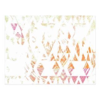 Cartão Postal Os triângulos brancos simples de Boho