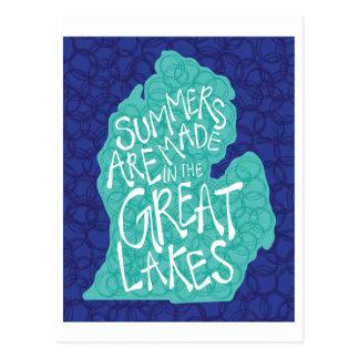 Cartão Postal Os verões são feitos nos grandes lagos - azul