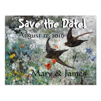 Cartão Postal Os Wildflowers dos pássaros da andorinha salvar o