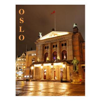 Cartão Postal Oslo, Noruega na noite