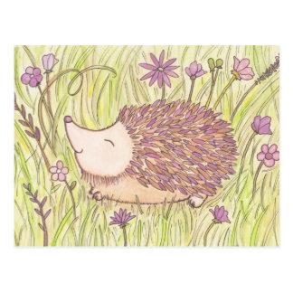 Cartão Postal Ouriço alegre da primavera
