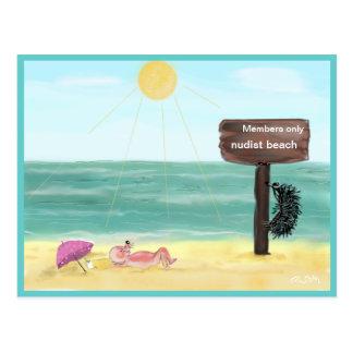 Cartão Postal Ouriço FKK/hedgehog nudist,